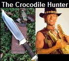 Handmade Crocodile Hunter Knife.  Influenced by the movie Crocodile Dundee. Picture - Link to more pictures, prices,and detailed descriptions