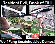 youtube video showing demonstrations and pictures of the Resident Evil Machete, Sword of Eli II, and Wolf Fang Smatchet.  All handmade 